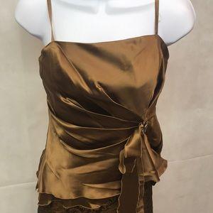Citrine Bejeweled Silk Blouse